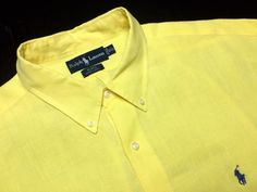 RALPH LAUREN Blake Men's XXL Yellow Linen Long Sleeve Button-Down Casual Shirt~Navy Pony #RalphLauren | Men's Fashion & Style | Shop Menswear, Men's Clothes, Men's Apparel & Accessories at designerclothingf... | Find Sport Coats, Blazers, Suits, Shirts, Polos, Pants/Trousers and More...
