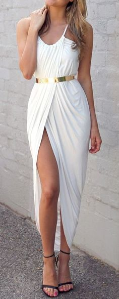 Ivory Front Split Dress  #fashion #beautiful #pretty Please follow / repin my pinterest. Also visit my blog http://fashionblogdirect.blogspot.dk