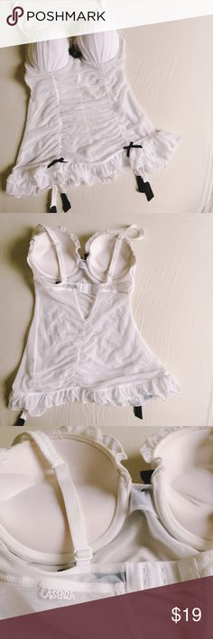 Pushup Babydoll White By La Senza. Thick push up cups with underwire for a sexy lift. Sheer mesh skirt. Back closure. Marching G- string panty. Size XS fits like 0-2. Never worn but been hung in my closet. La Senza Intimates & Sleepwear
