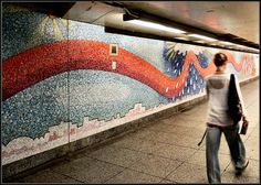 At the Ely and 23rd St. Subway Station in Queens, NY. This is only a section of it. Almost all subway art is in mosaic because it lasts forever and can't be stolen. The only other medium I've seen in subways are little bronze statues.     ...(See the coolest #Art installations in     New York on https://www.artexperiencenyc.com