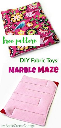 Free PDF sewing template and beginner tutorial for a cute fabric marble maze toy for kids. A great DIY present for kids that's easy and quick to make!