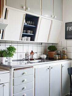 slanted cabinets