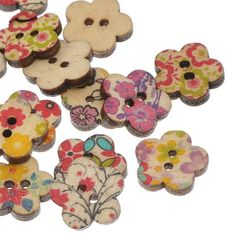2014 New 100PCs Wooden Flower Buttons Flower Pattern Mixed Colors 2 Holes