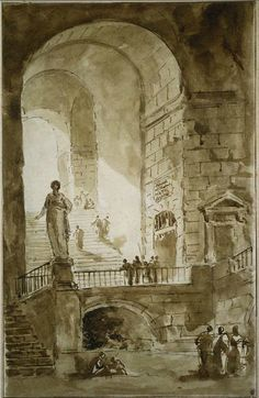 Fine Art Print-Vaulted Staircase, c. Creator: Hubert Robert (French, Fine Art Print on Paper made in the UK Fine Art Prints, Canvas Prints, Framed Prints, Architecture Drawings, Classic Architecture, Building Sketch, Photography Illustration, Historical Art, Artists