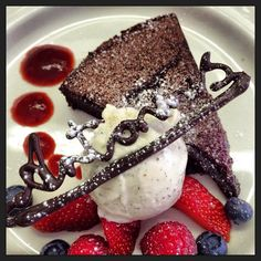 One of our best selling 'torte' this month Chocolate and Beetroot cake served with vanilla gelato.