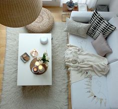 Stunning Color of Trends in Home Decor 2014: Stylish White Modern Sofa Rug Woven Chandelier Trends In Home Decor 2014 ~ enjoyf.com Interior Designs Inspiration
