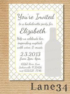 Yellow and Gray Wine Bachelorette or Birthday by Lane34greetings,bridal shower