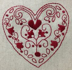 Red work heart 2 Valentine Hearts, Love Valentines, Embroidery Hearts, Embroidery Ideas, Quilt Patterns, Stitch Patterns, I Love Heart, White Cottage, Blackwork