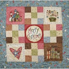 """Cute for gifts! Christmas Wallhanging Quilt Kit - Uses Anni Downs fabrics. 18"""" square. The kit includes the pattern and all fabrics to make the quilt top and the binding."""
