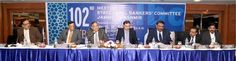 Chief Secretary B R Sharma alongwith Chairman J&K Bank Parvez Ahmad chairing a meeting of J&K State Level Bankers Committee (SLBC) at Jammu.