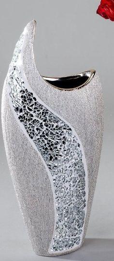 Vase Exclusive Décorative pour Fleurs en Céramique et Verre Mosaïque - Argent hauteur 36 cm Formano