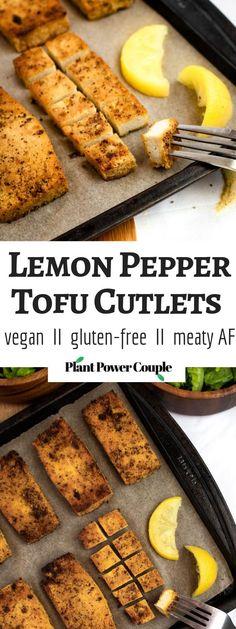 Pepper Tofu Cutlets are the perfect meal prep staple! Slice 'em up for s. - Lemon Pepper Tofu Cutlets are the perfect meal prep staple! Slice 'em up for s. Vegan Foods, Vegan Dishes, Vegan Vegetarian, Vegetarian Recipes, Healthy Recipes, Easy Tofu Recipes, Vegan Hummus, Grilled Tofu Recipes, Recipes Using Tofu