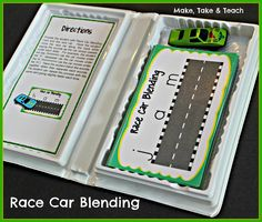 Race Car Blending- great activity for teaching students to blend.  All you need fits in an old VHS case. Just grab and go!