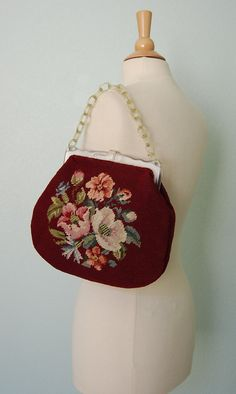 1950s Needlepoint Handbag with Plastic Frame and Handle Great for Spring - Summer