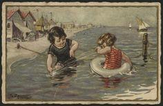Piatolli Art Deco Beach Children Artist Signed Ballerini Fratini 439 Postcard