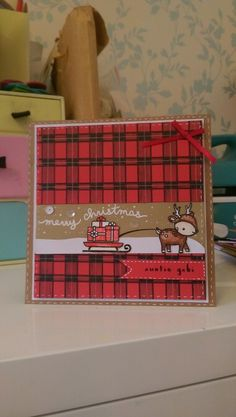 Toboggan together lawn fawn plaid christmas card
