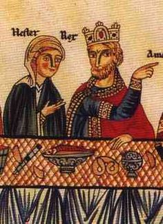 An illustration from the 12th century Hortus deliciarum from Alsace may be the earliest depiction of a pretzel, shown at a banquet with Quee...
