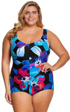 db2fb5579a689 Maxine Plus Size Flourish Shirred Front Girl Leg One Piece Swimsuit 8150367  Swim Shop