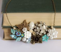Beautiful vintage collage necklace. Love everything about it. #necklace #jewelry #accessories