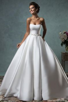 amelia sposa 2016 wedding dresses strapless sweetheart beautiful simple satin a line ball gown wedding dress melissa.