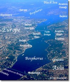 Map of the Bosphorus, Istanbul, Turkey. ISTANBUL straddles two continents, Asia and Europe Istanbul Map, Istanbul Travel, Places Around The World, Around The Worlds, Places To Travel, Places To Go, Visit Turkey, Tourist Map, Hagia Sophia