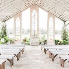 This is the inside of Gruene Estate's original open air chapel on the Gruene family farm.  Our beautiful event center can accommodate 200 plus people.  Located in the historic town of Gruene Texas, we are the Hill Country's premier open air event center.