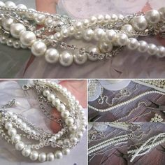 From start to finish - multi layered silver chains, pearls and rhinestones all twisted and braided into this bracelet design 💕 Available at Bridal Bracelet, Pearl Bracelet, Pearl Necklace, Silver Chains, Handmade Wedding, Bracelet Designs, Bridal Style, Rhinestones, Handmade Jewelry