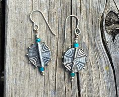 Handmade Unique One of a Kind Sterling Silver Swirl and Turquoise Bead Dangle Boho Earrings by Enamel Art By Leslie on Etsy. #FestivalSeason #BohoEarrings #BohemianEarrings #SilverandTurquoise