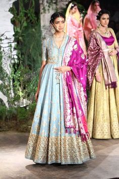 Powder blue anarkali banarasi with contrast fuchsia pink dupatta by Anju Modi #Frugal2Fab