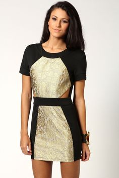 Sarah Open Back Contrast Side Metallic Lace Panel Dress >> £25.00
