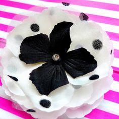 Great Kate! Fun Black & White Polka Dot Hair Clip or Pin