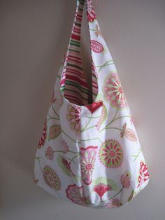 Over the Shoulder BagPink and Green by LilyThreads on Etsy, $20.00
