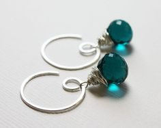 Teal Turquoise Quartz Briolette Wire Wrapped by TangerineJewelry