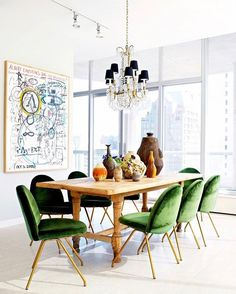 Bold green chairs in a beautiful dining room /// See this Instagram photo by @lonnymag • 1,605 likes