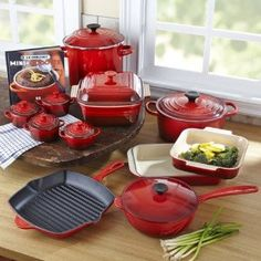 Le Creuset Cookware Set , 20 Piece. Drool. I have two small bakeware dishes and they are some of the few I will never, ever part with and will move with me wherever I go. They clean up so quickly!