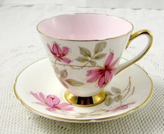 Old Royal Tea Cup and Saucer with Pink Flowers and Pink Center, Vintage Bone China, Teacup and Saucer