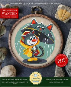 This is modern cross-stitch pattern of Smiling Cat under the Rain for instant download. It is raining and this cute Smiling Cat is going for a walk. He has a cool umbrella and a raincoat, so he is not afraid of rain. Decorate your room with this picture and good mood guaranteed,
