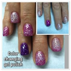 Color Changing Gel Polish over non-toxic odorless hard gel. White/clear to bright Pink & Pink to Purple Temperature Changing Gel Polish is so much fun!!!
