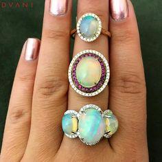 "941 Likes, 2 Comments - DVANI by A&D Gem  (@dvani_adgem) on Instagram: ""Happy #Monday!! Enjoy these beautiful #opal rings! ✨ #DVANI"""