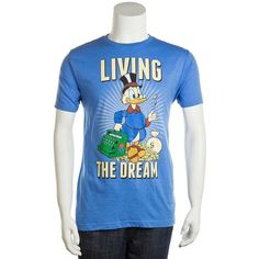 "Men's Disney's DuckTales ""Living the Dream"" Tee ($15) ❤ liked on Polyvore featuring men's fashion, men's clothing, men's shirts, men's t-shirts, blue other, mens blue t shirt, mens leopard print t shirt, mens t shirts, mens short sleeve shirts and mens patterned shirts"