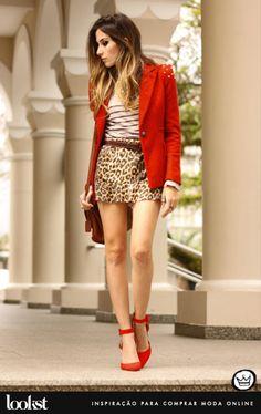 onça - vermelho - listras