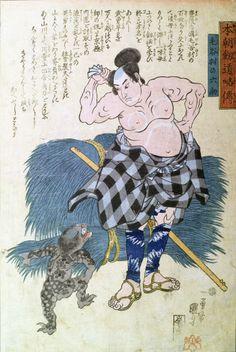 Keyamura no Rokusuke stripped to his waist and drying his back encounters a young kappa, ca. 1845 by Utagawa Kuniyoshi