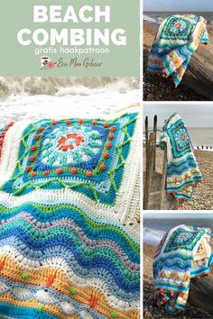 Prachtige Beachcombing CAL deken van Coastal Crochet, gratis beschikbaar in het Nederlands op Een Mooi Gebaar. Het haakpatroon bestaat uit vele foto's en video's, waardoor het ook voor de avontuurlijke beginner te maken is. Haak dit patroon in de voorgeschreven kleuren, of maak er je eigen variatie op. Het patroon zal een prachtige uitdaging zijn voor uw hobby: dekens haken. Crochet Gratis