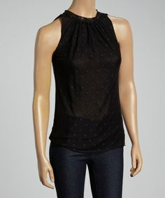 Look what I found on #zulily! Black Polka Dot Sleeveless Top by Sweet Pea by Stacy Frati #zulilyfinds