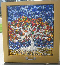 Tree of Life Stained Glass Window Mosaic won prize at the Columbia County Art Guild Art Show. Stained Glass Designs, Mosaic Designs, Stained Glass Patterns, Mosaic Patterns, Tree Patterns, Mosaic Crafts, Mosaic Projects, Mosaic Art, Mosaic Glass