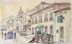 Casario , 1816 - 1831  aquarela sobre papel, c.i.d.  12,4 x 20,1 cm  Museus Castro Maya - IPHAN/MinC (Rio de Janeiro, RJ)  Reprodução fotográfica Pedro Oswaldo Cruz   Jean Baptiste Debret