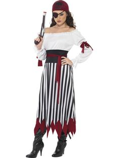 Womens Pirate Fancy Dress Costume Brown Dress Pirate Lady Costume Dress: Cosmetics4uOnline.co.uk: Shop and Buy Online now - If you are looking for womens pirate costume ideas then this is ideal, a good quality dress up item at an affordable price