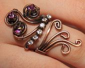 copper with purple and white swarovski crystal ring adjustable wire wrapped jewelry handmade