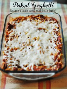 Baked Spaghetti - Easy dinner recipe! Tastes so good!