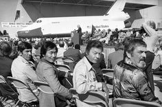 Part of the crew of the television series Star Trek attend the first showing of America's first Space Shuttle, named Enterprise, in Palmdale, California, on September 17, 1976. From left are Leonard Nimoy, George Takei, DeForest Kelly and James Doohan. (AP Photo)
